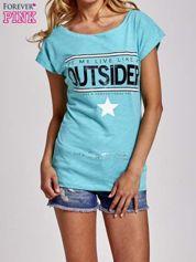 Zielony t-shirt z napisem OUTSIDER