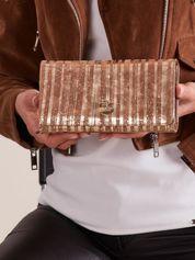 Złoty skórzany portfel w paski