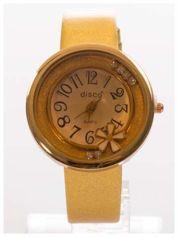 Złoty zegarek damski z cyrkoniami na skórzanym, lakierowanym pasku