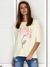 Żółta bluzka z ozdobnymi kwiatami i perełkami