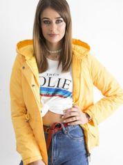 Żółta dwustronna kurtka z kapturem