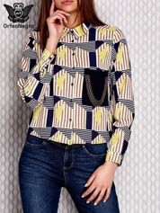 Żółta koszula w graficzne wzory z łańcuszkami