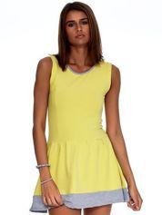 Żółta sukienka z szarym wykończeniem