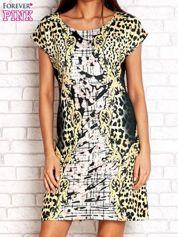 Żółta sukienka z tygrysim nadrukiem