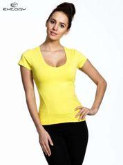 Żółty damski t-shirt sportowy z dekoltem U