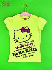 Żółty t-shirt dla dziewczynki HELLO KITTY z napisami