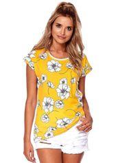 Żółty t-shirt z motywem kwiatowym
