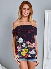 Zwiewna bluzka hiszpanka w kwiaty z falbaną granatowa