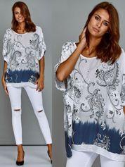 Zwiewna bluzka oversize z nadrukiem i cekinami biała