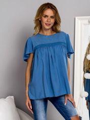 Zwiewna bluzka z cekinowym dekoltem ciemnyniebieska