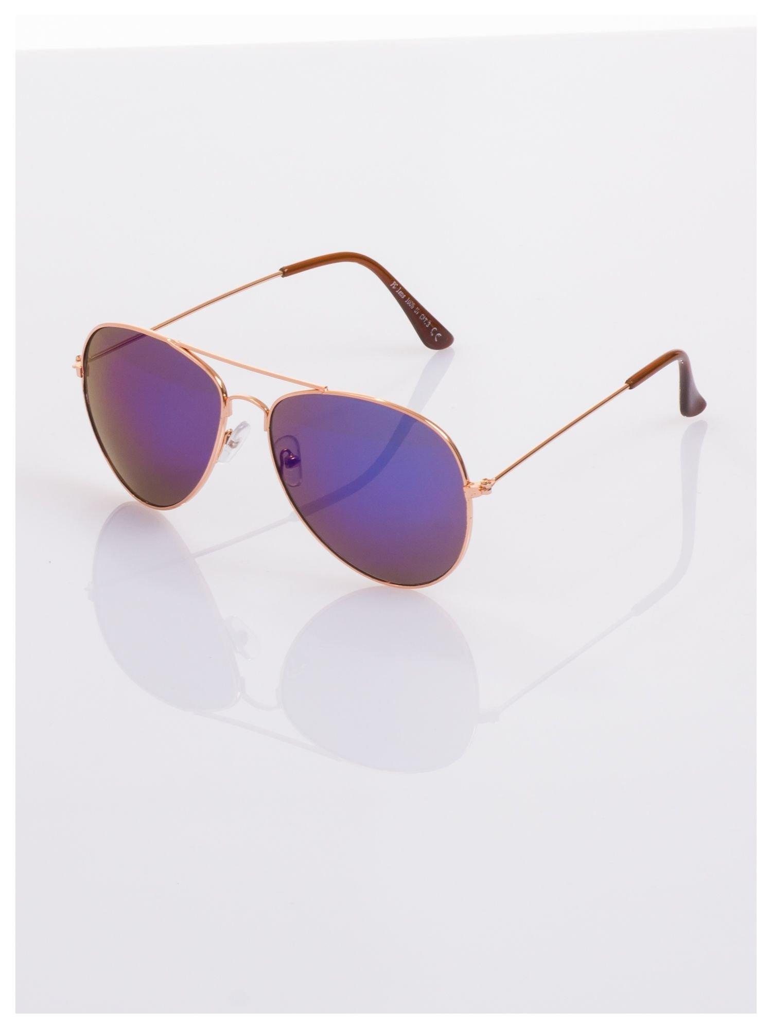 AVIATORY złote okulary pilotki lustrzanki niebiesko-fioletowe                                   zdj.                                  1