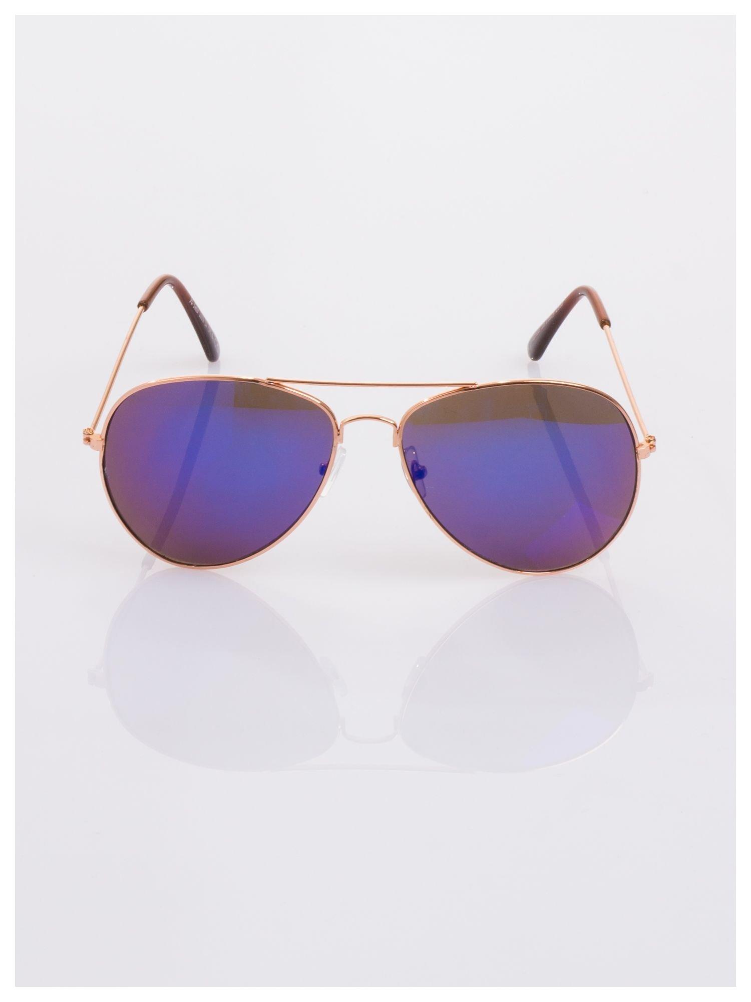 AVIATORY złote okulary pilotki lustrzanki niebiesko-fioletowe                                   zdj.                                  3