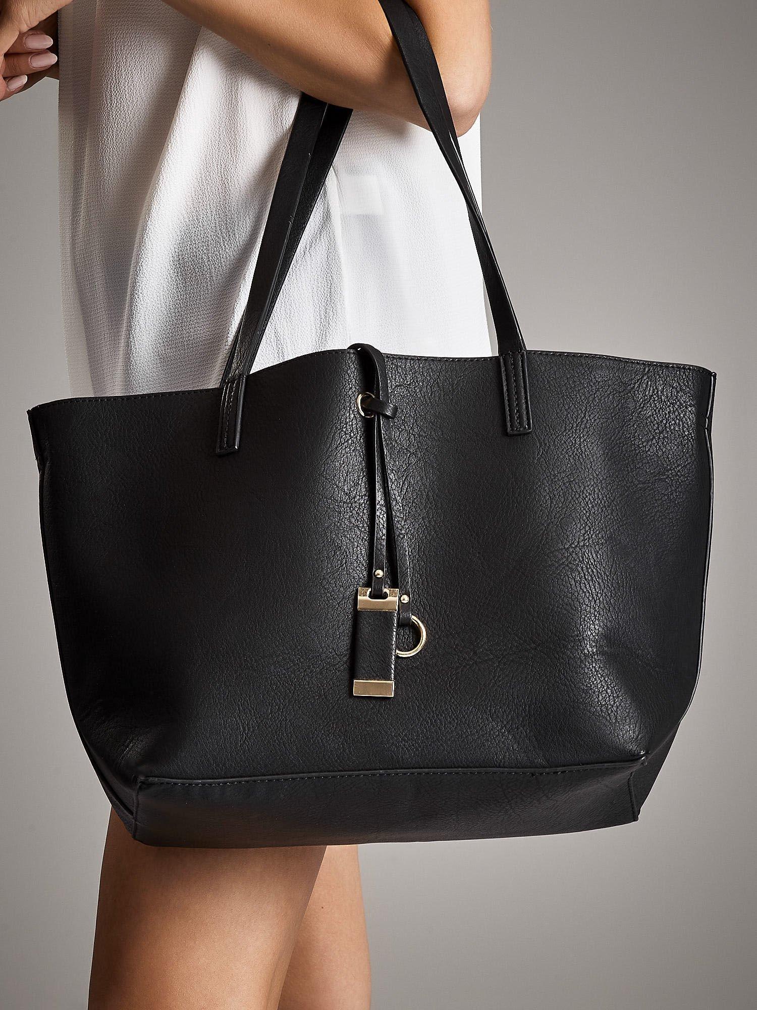 d7b086da12d92 ANNA FIELD Czarna torba shopper bag - Akcesoria torba - sklep eButik.pl