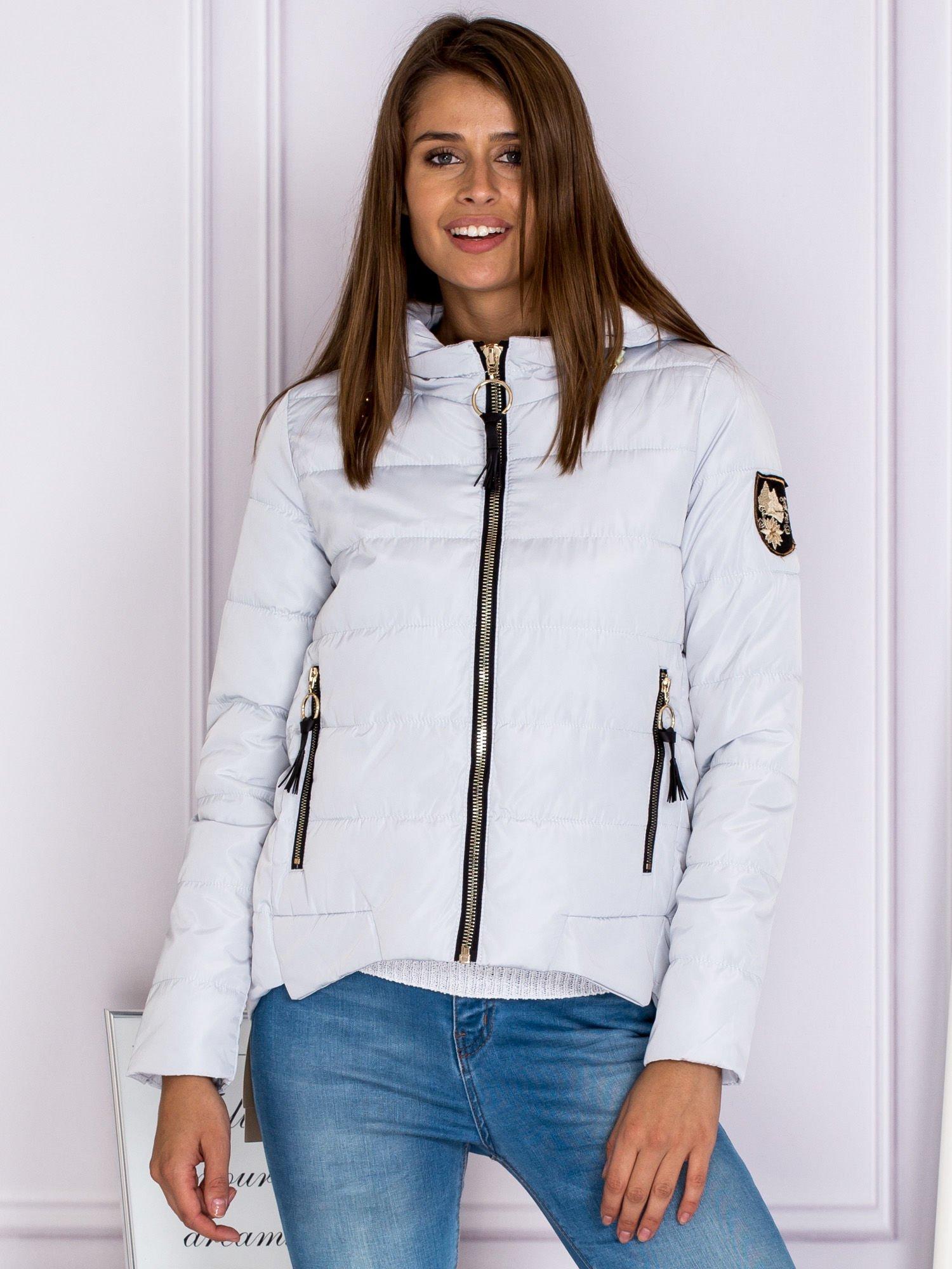 d430a7e12be2 Asymetryczna kurtka zimowa z kapturem szara - Kurtka zimowa - sklep ...