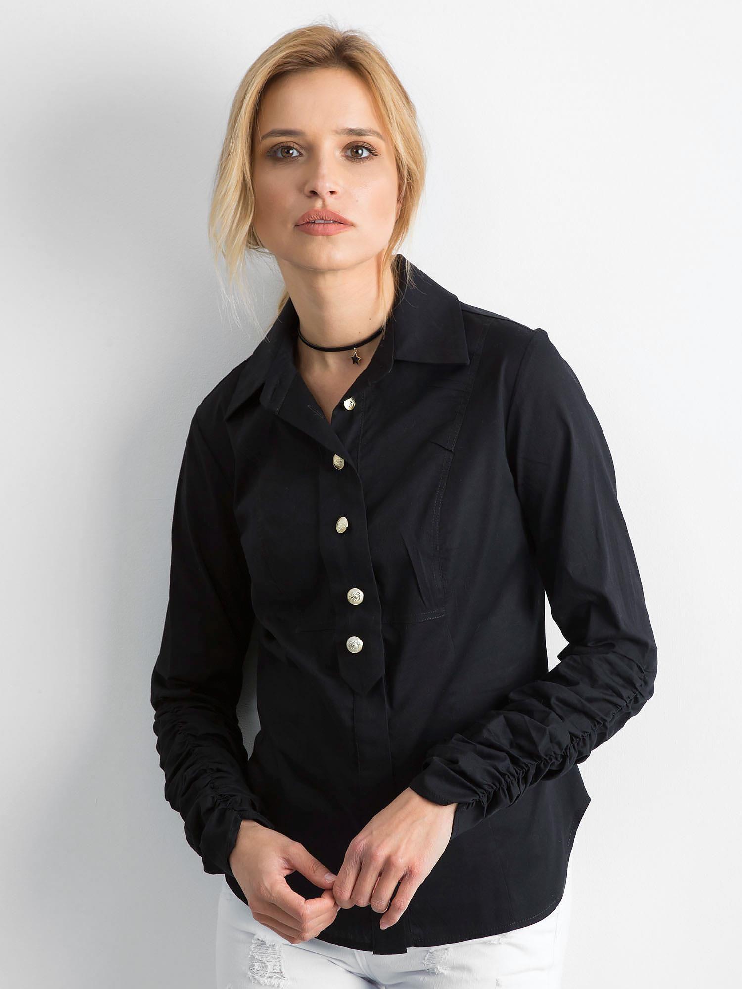 49c1a5419d1a38 BY O LA LA Czarna koszula damska - Koszula klasyczna - sklep eButik.pl