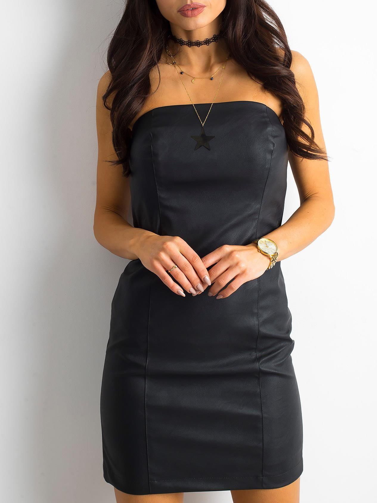 3089894ecc BY O LA LA Czarna skórzana sukienka - Sukienka mała czarna - sklep ...
