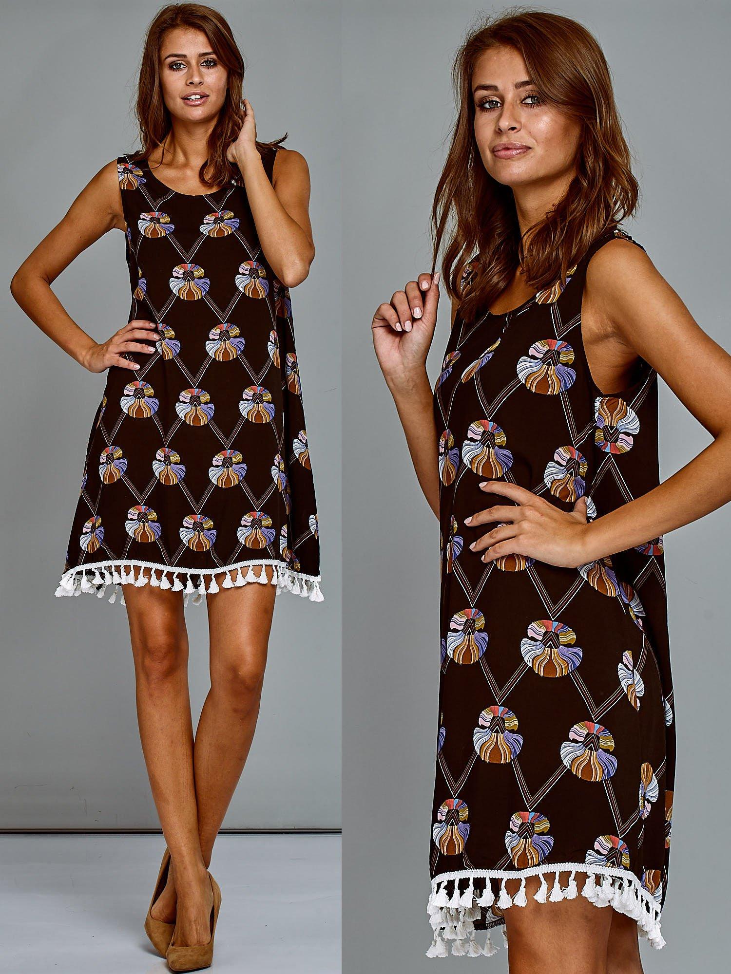 b71a975e19 Bawełniana sukienka letnia trapezowa ze wzorem czarna - Sukienka na ...