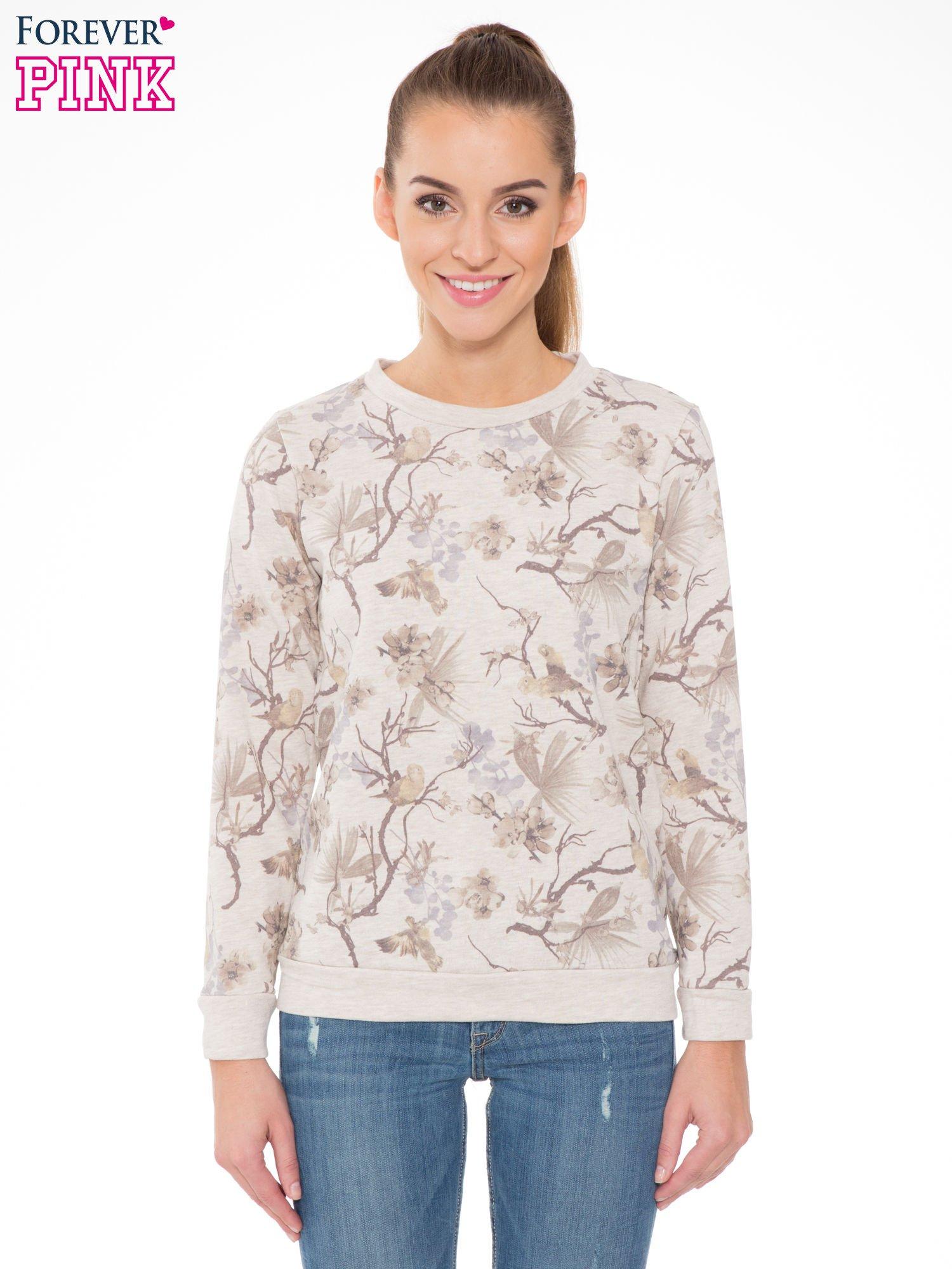 Beżowa bluza z nadrukiem all over floral print                                  zdj.                                  1