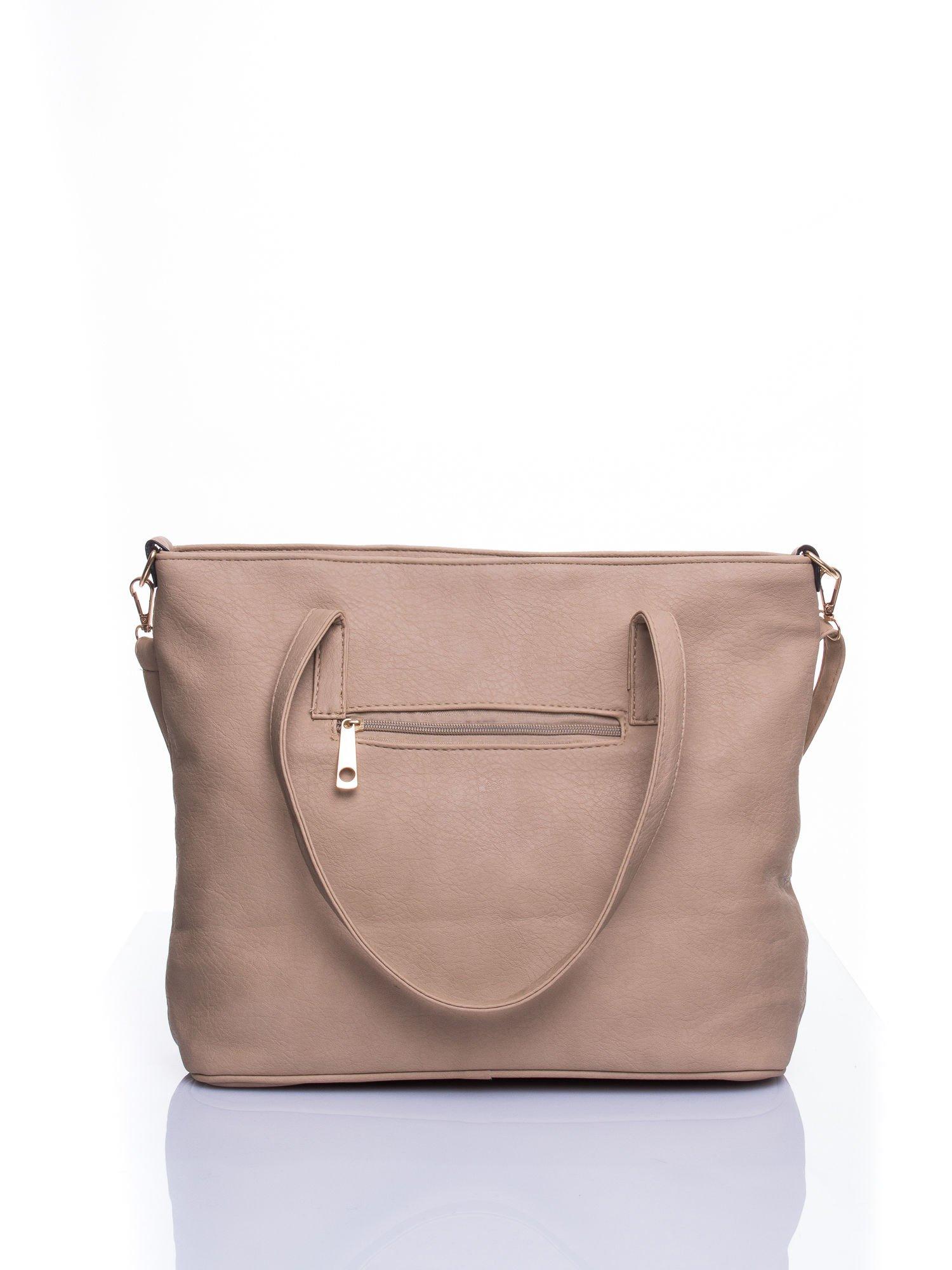 Beżowa fakturowana torba shopper bag                                  zdj.                                  3