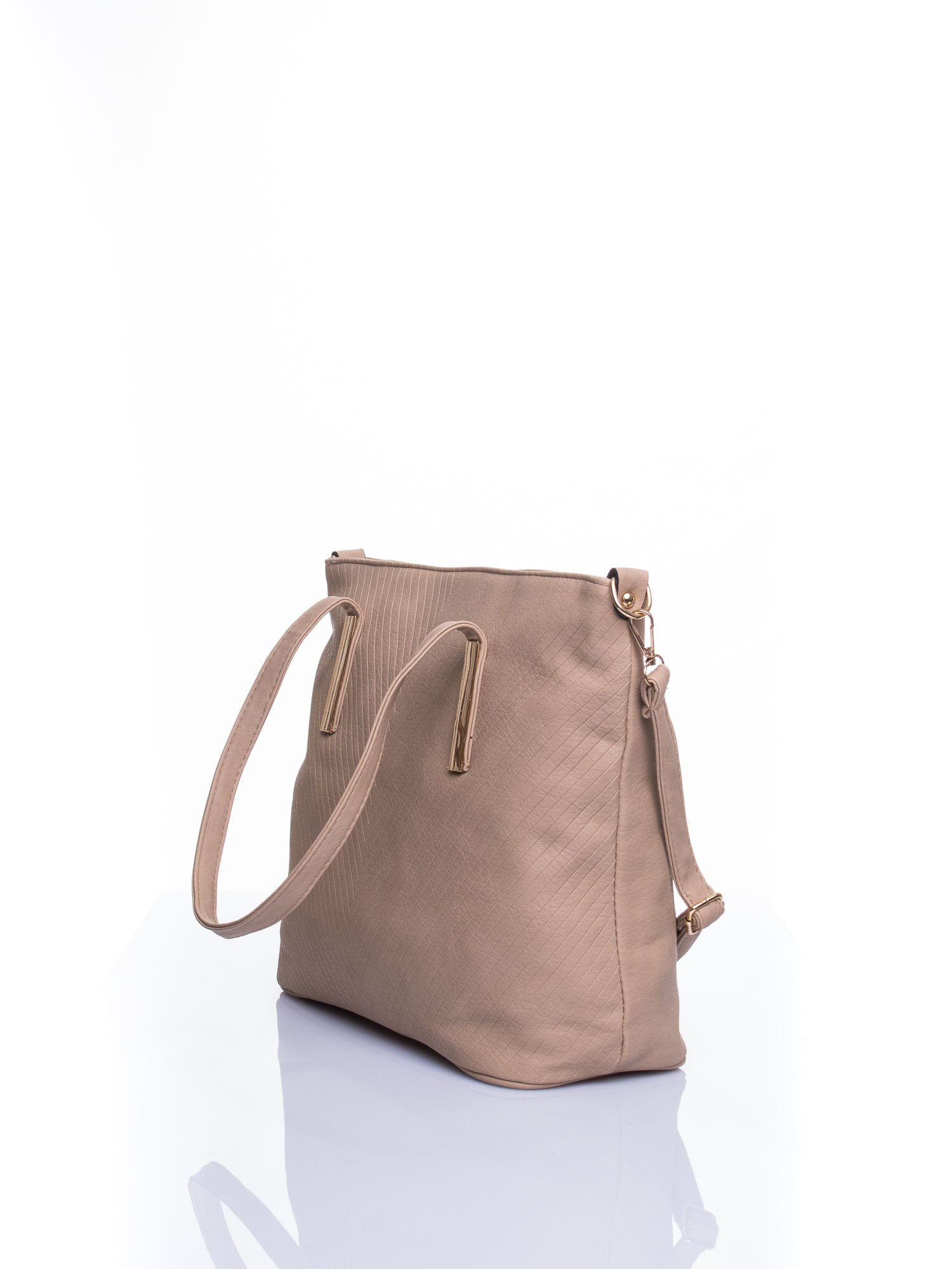 Beżowa fakturowana torba shopper bag                                  zdj.                                  4