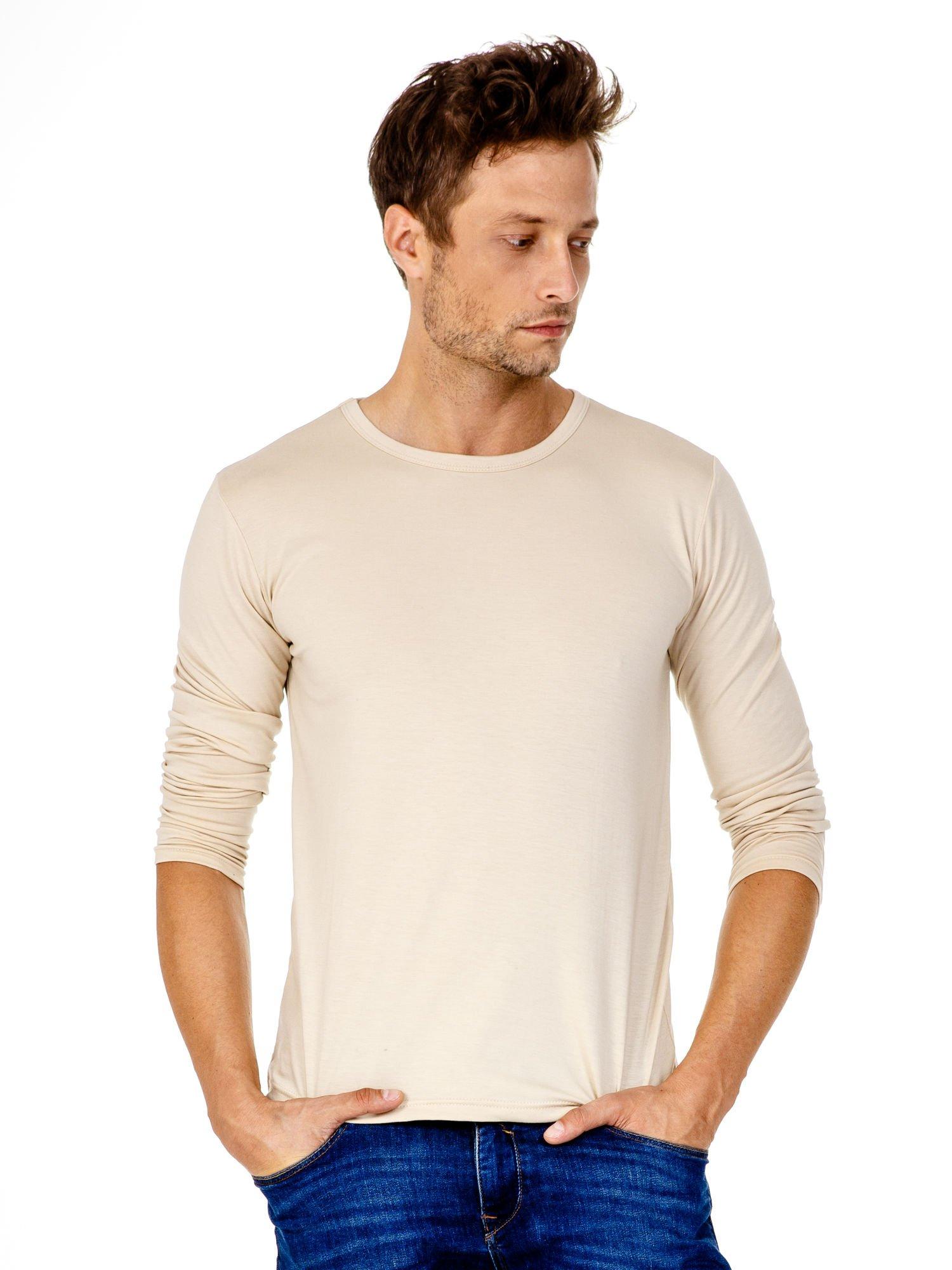 Beżowa gładka koszulka męska longsleeve                                  zdj.                                  2