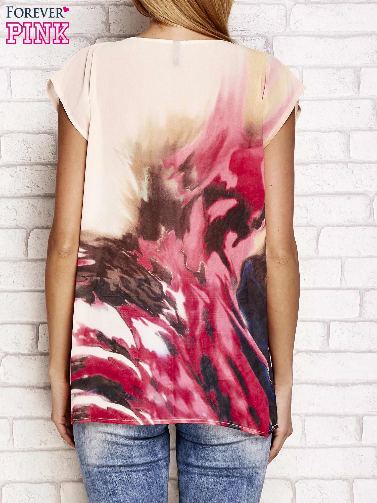 Beżowa koszula z abstrakcyjnym nadrukiem                                  zdj.                                  2