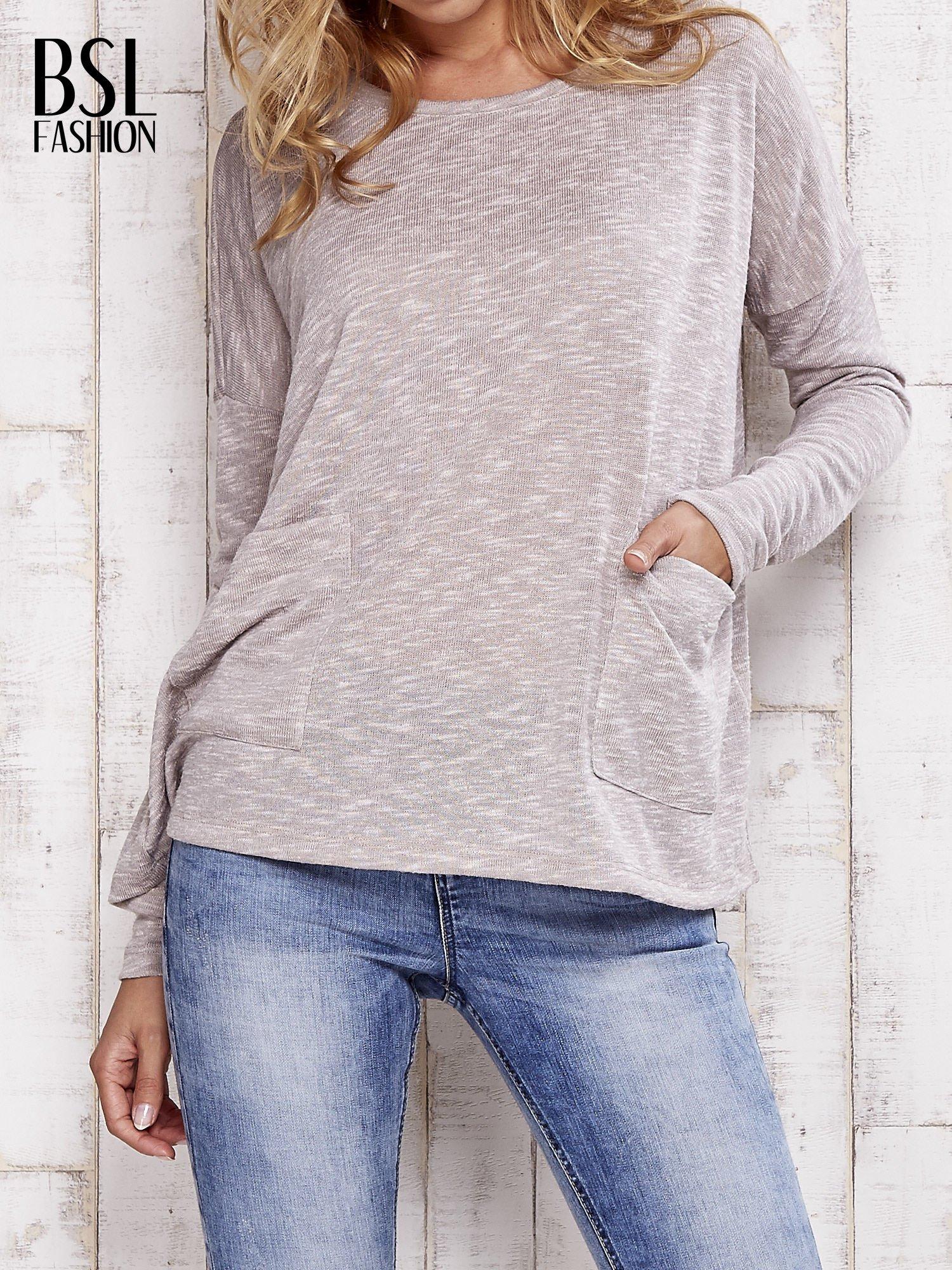 Beżowa melanżowa bluzka z kieszeniami                                  zdj.                                  1