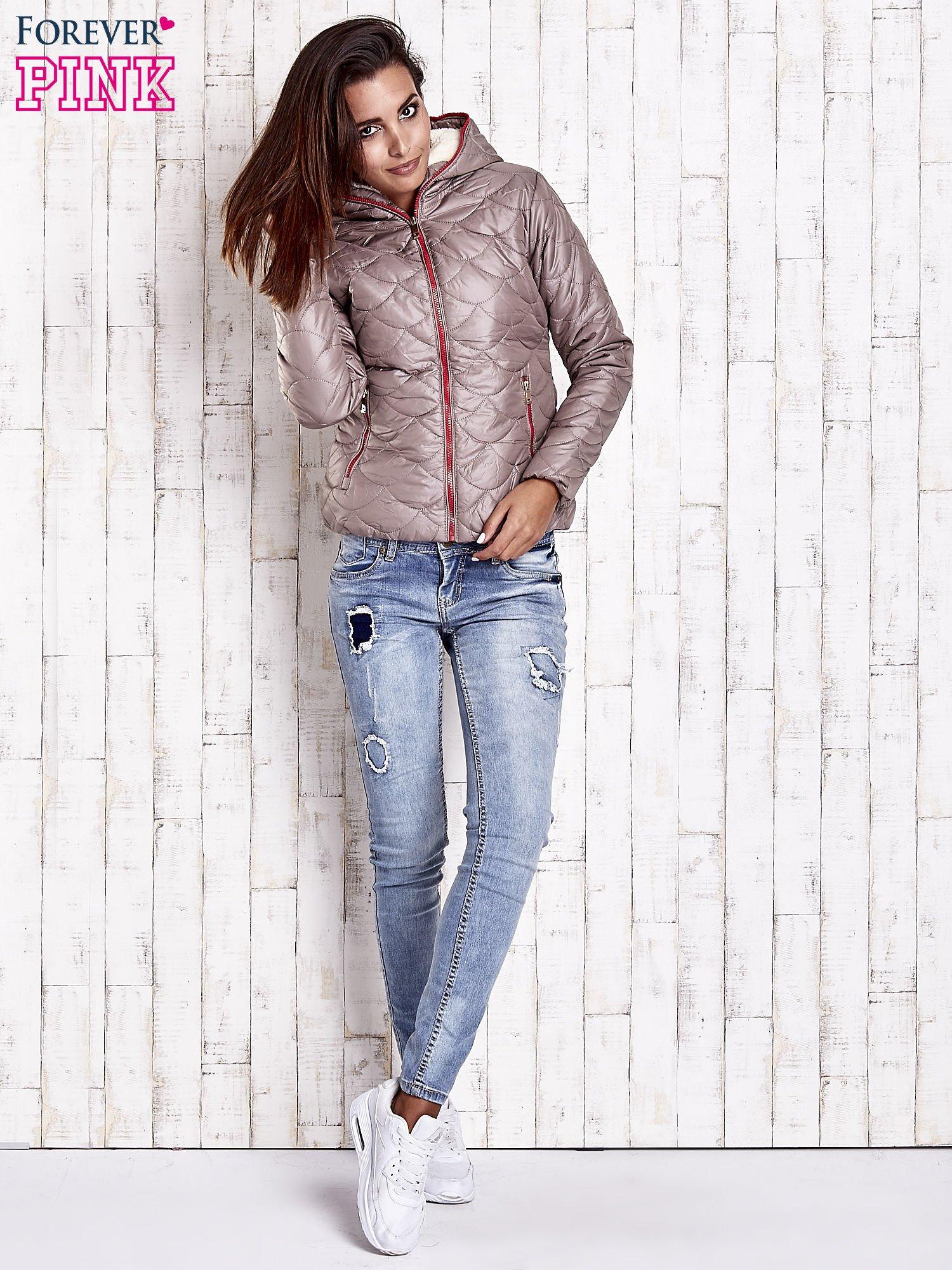 Beżowa pikowana kurtka z futrzanym ociepleniem                                   zdj.                                  5