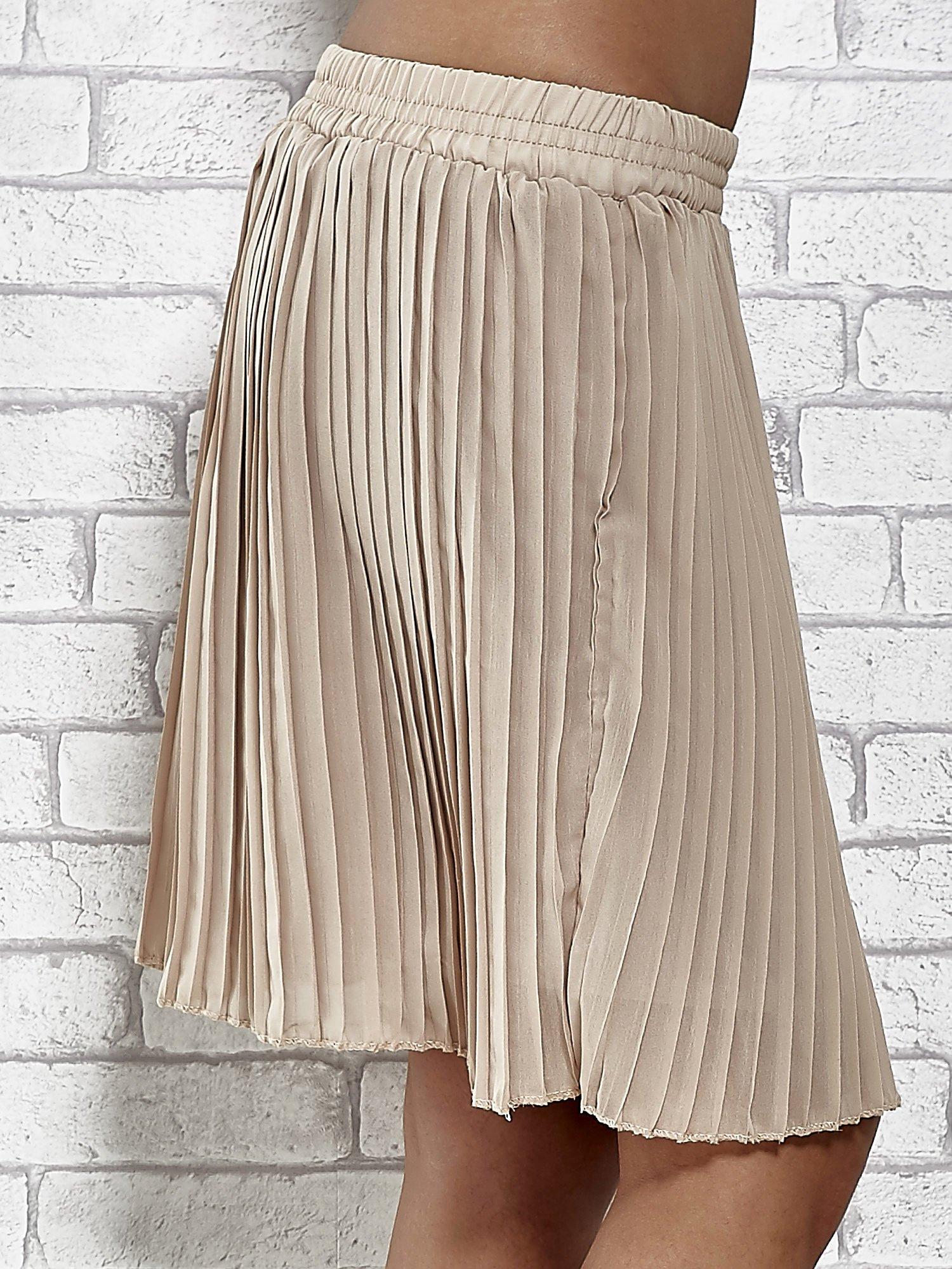 Beżowa plisowana spódnica do kolan                                  zdj.                                  6