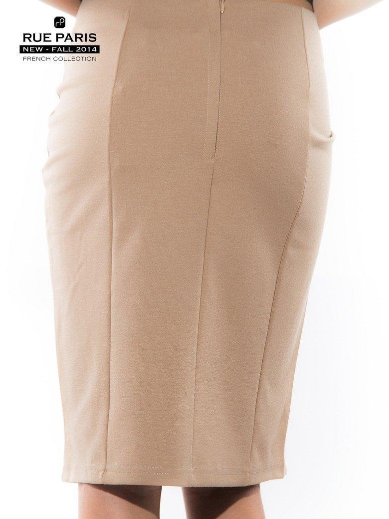 Beżowa spódnica ołówkowa ze wstawką z pikowanej skóry                                  zdj.                                  4
