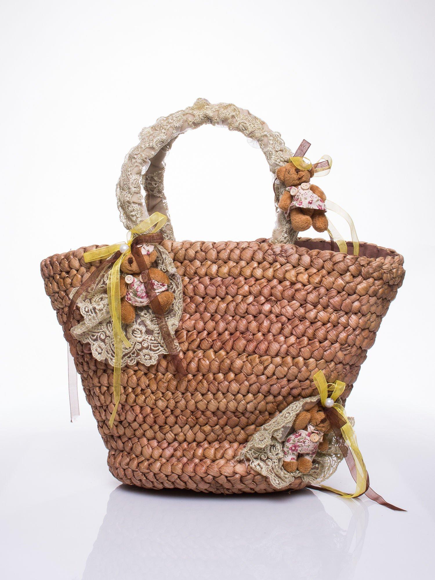 Beżowa torba koszyk plażowy z misiami                                  zdj.                                  2