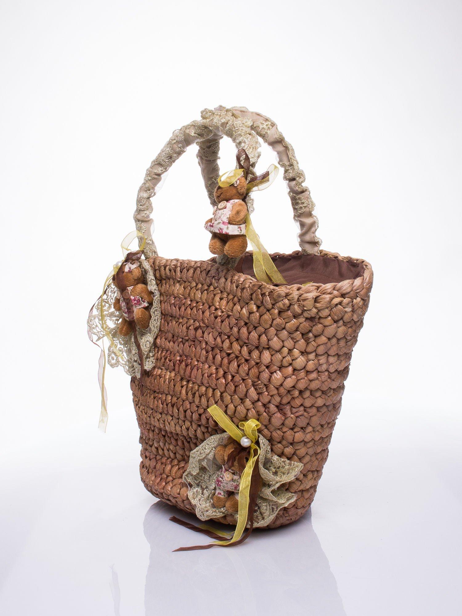 Beżowa torba koszyk plażowy z misiami                                  zdj.                                  3
