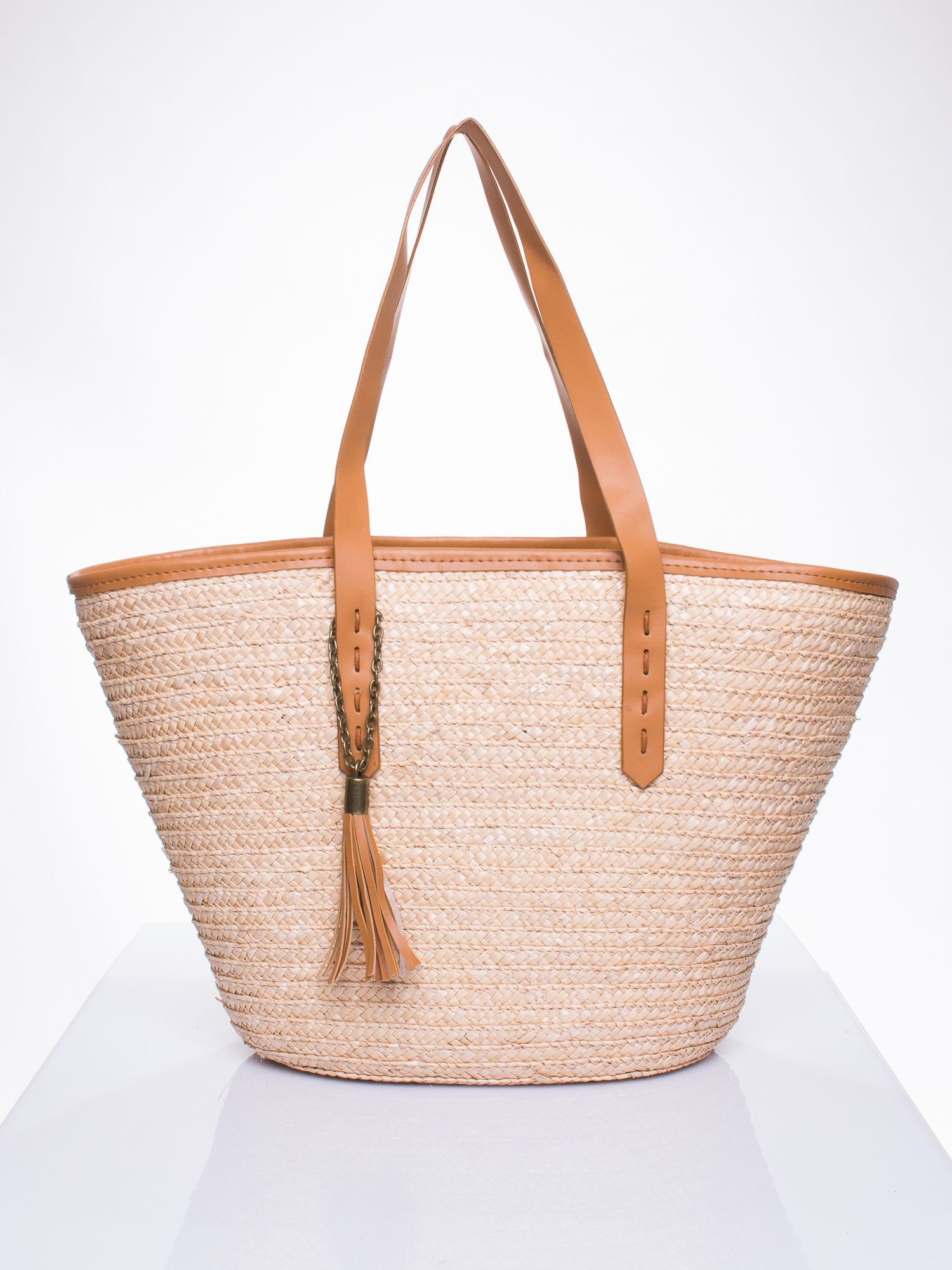 Beżowa torba koszyk plażowy ze skórzanymi rączkami                                  zdj.                                  2