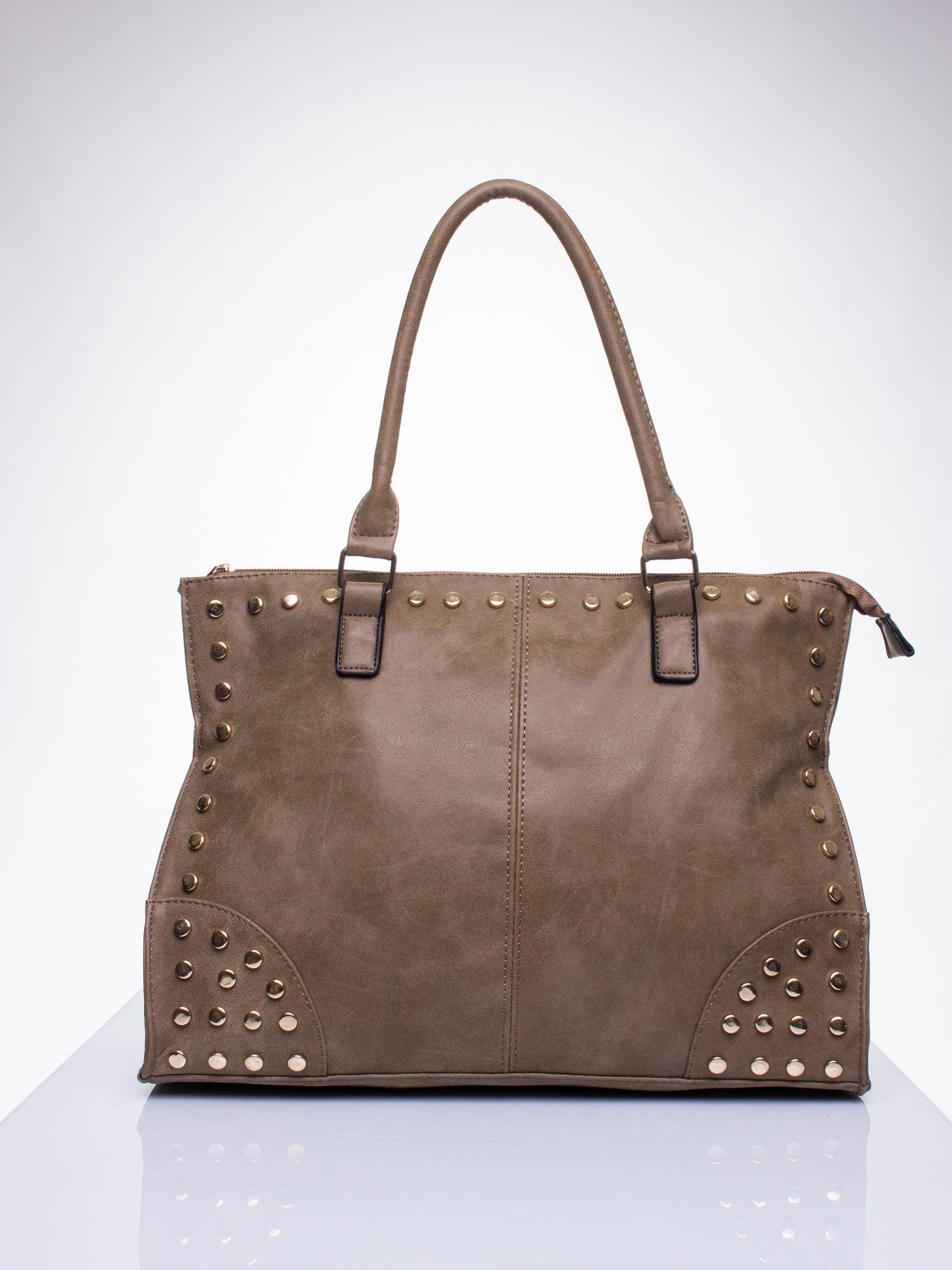 cbad6ee6f1bc9 Beżowa torba shopper bag ze złotymi ćwiekami - Akcesoria torba - sklep  eButik.pl