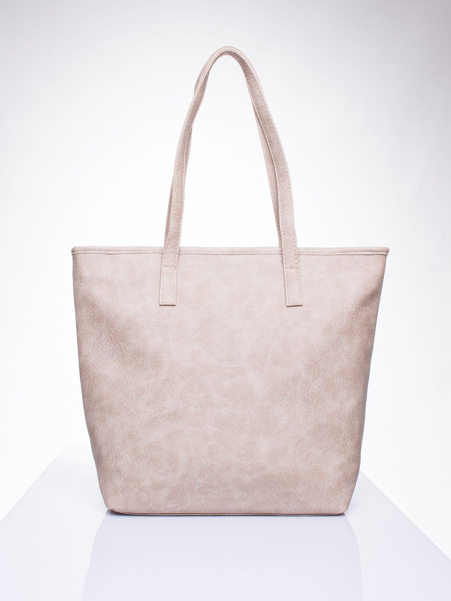 Beżowa torebka shopper bag z kokardką                                  zdj.                                  3