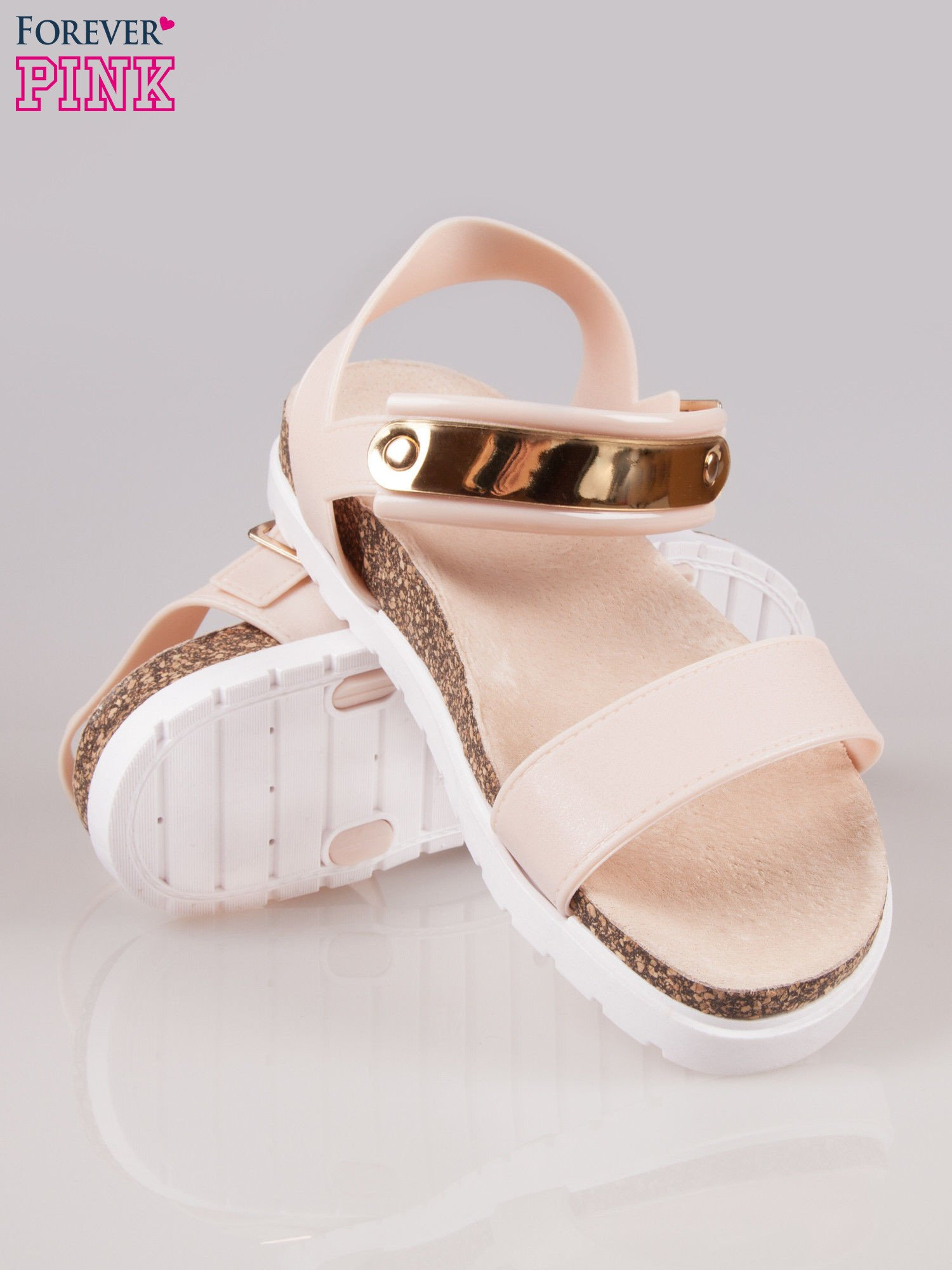 Beżowe płaskie sandały z blaszką na korkowej podeszwie                                  zdj.                                  4