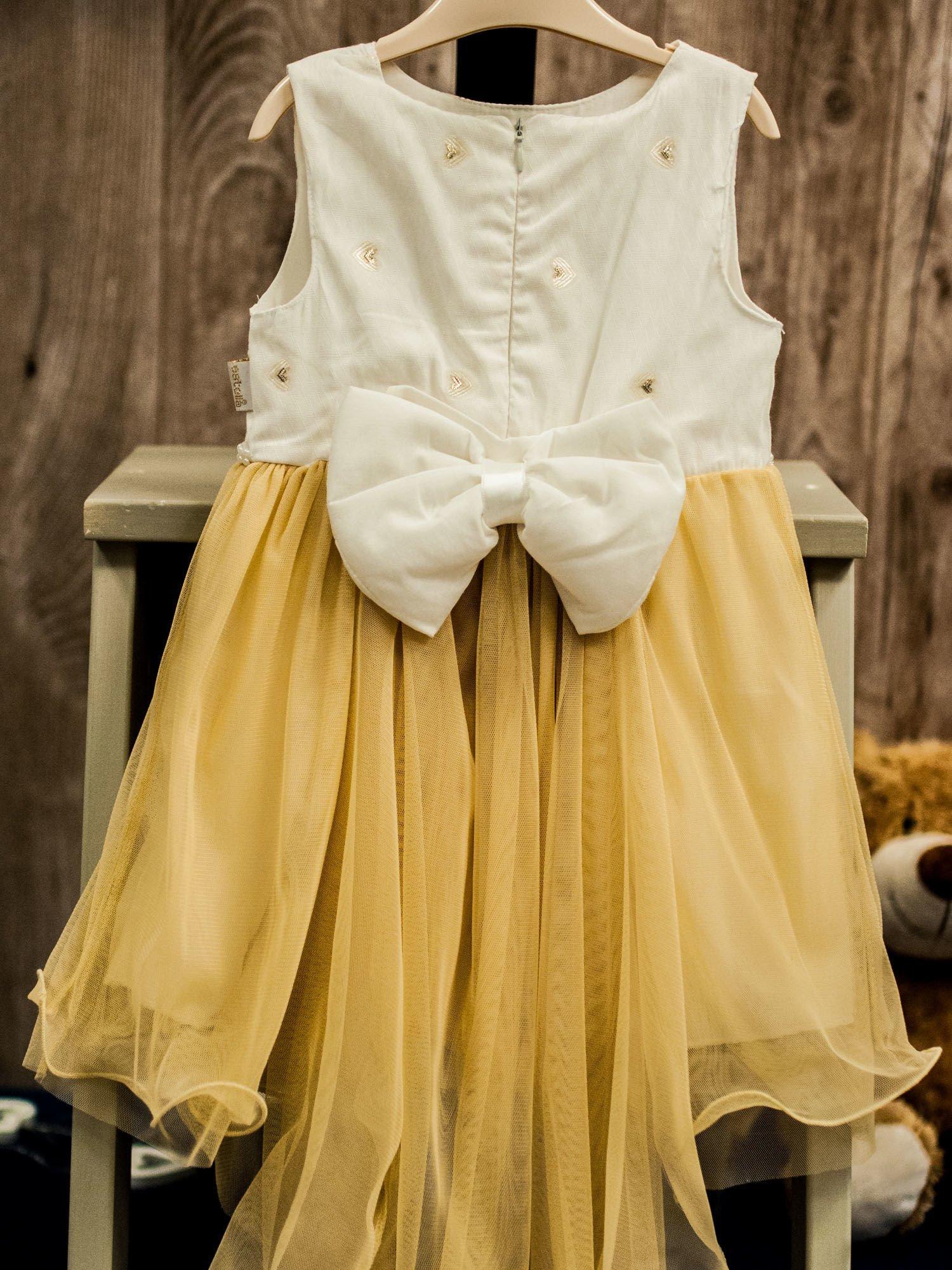 a944f4da20 Beżowo-biała tiulowa sukienka dziewczęca z perełkami - Dziecko ...
