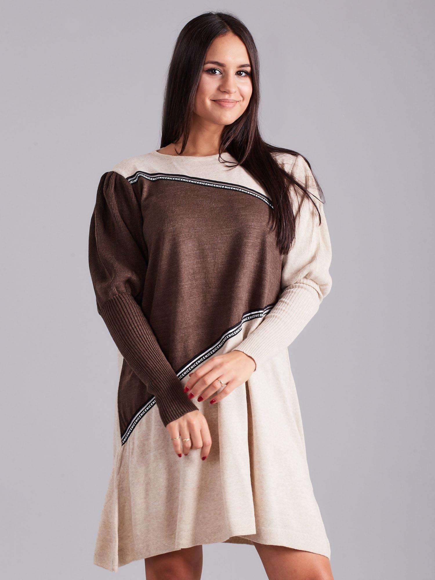 Beżowo-brązowa luźna sukienka z dzianiny - Sukienka ...