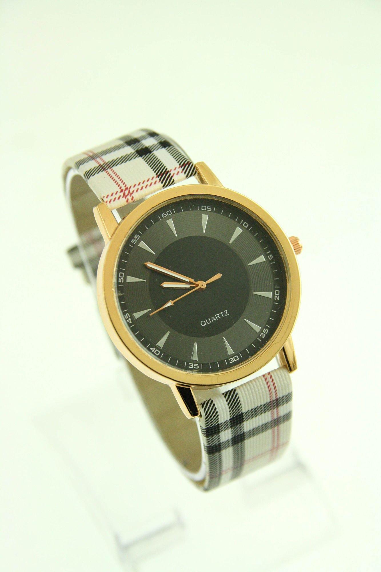 Beżowo-czarny zegarek damski na pasiastym pasku                                  zdj.                                  1