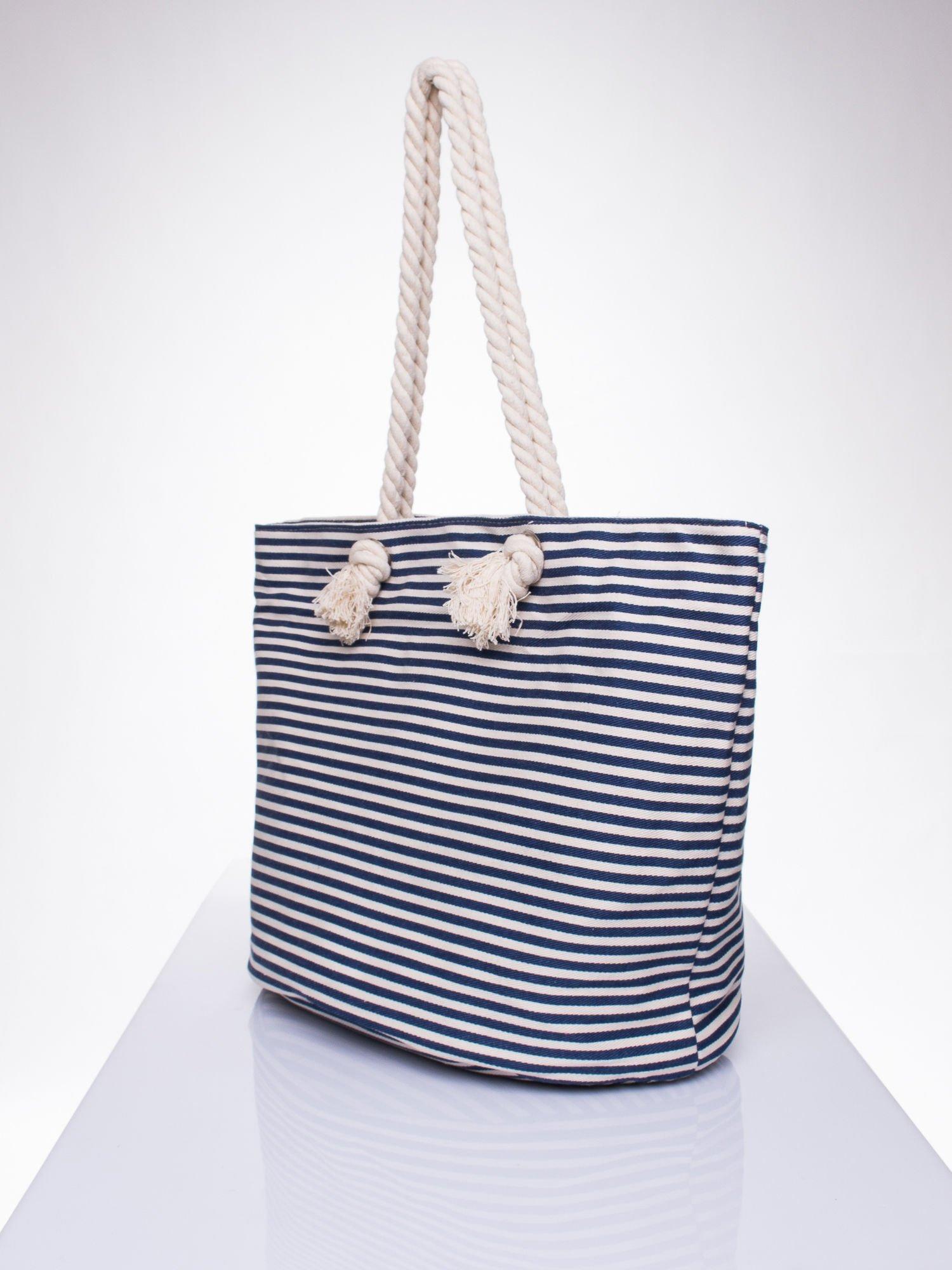 Beżowo-granatowa plażowa torba w paski na sznurku                                  zdj.                                  2