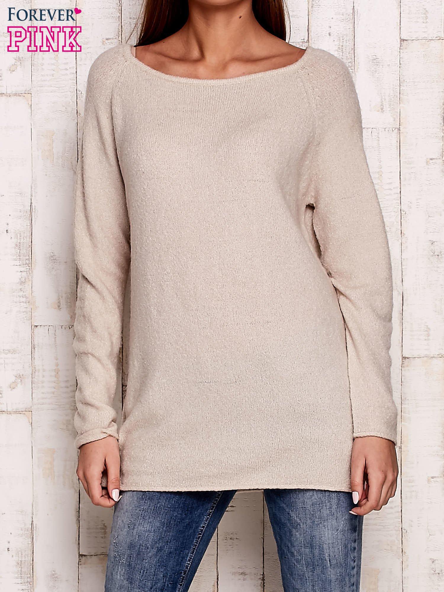 Beżowy dzianinowy sweter                                   zdj.                                  1