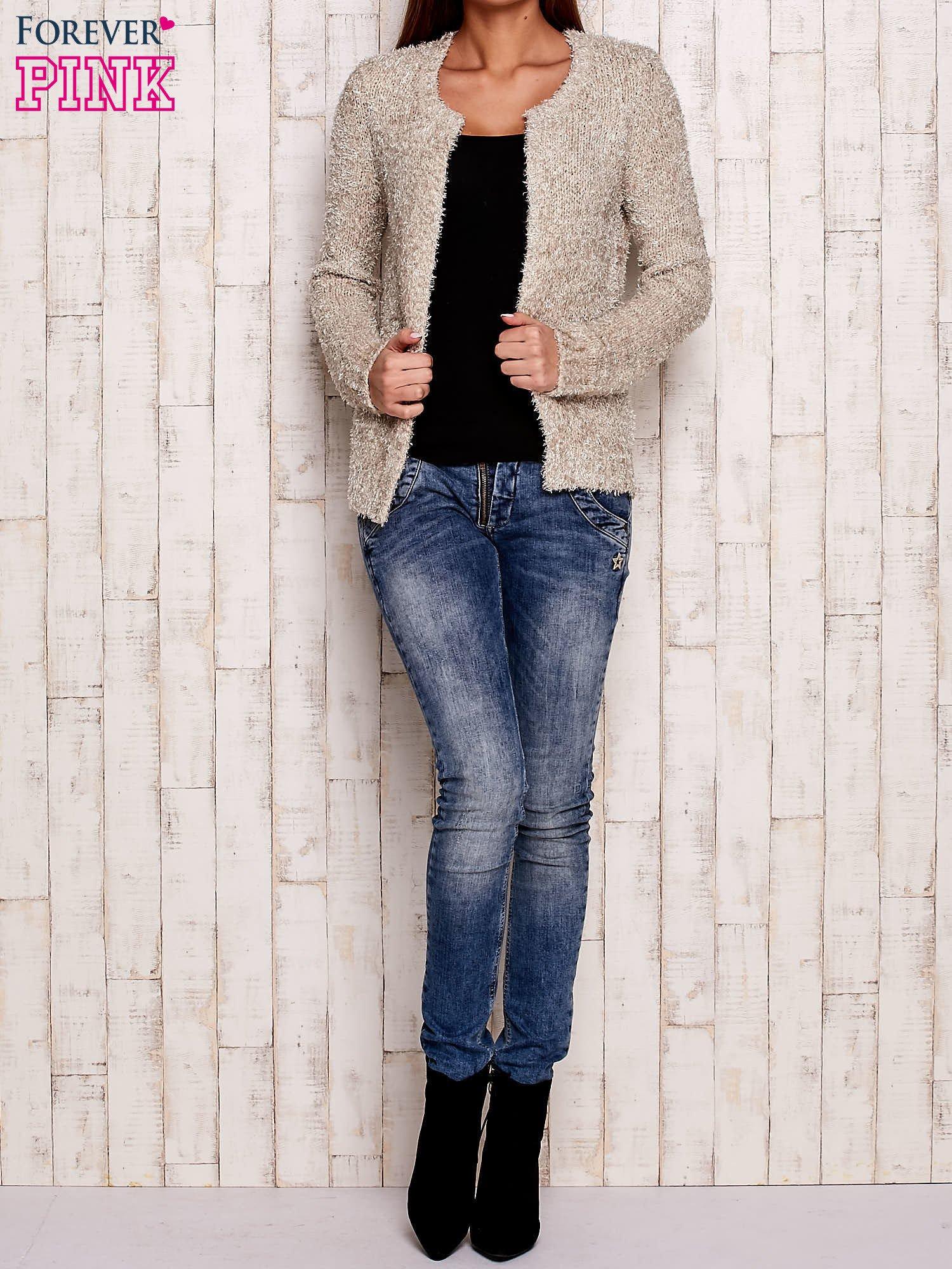Beżowy otwarty włochaty sweter                                   zdj.                                  2