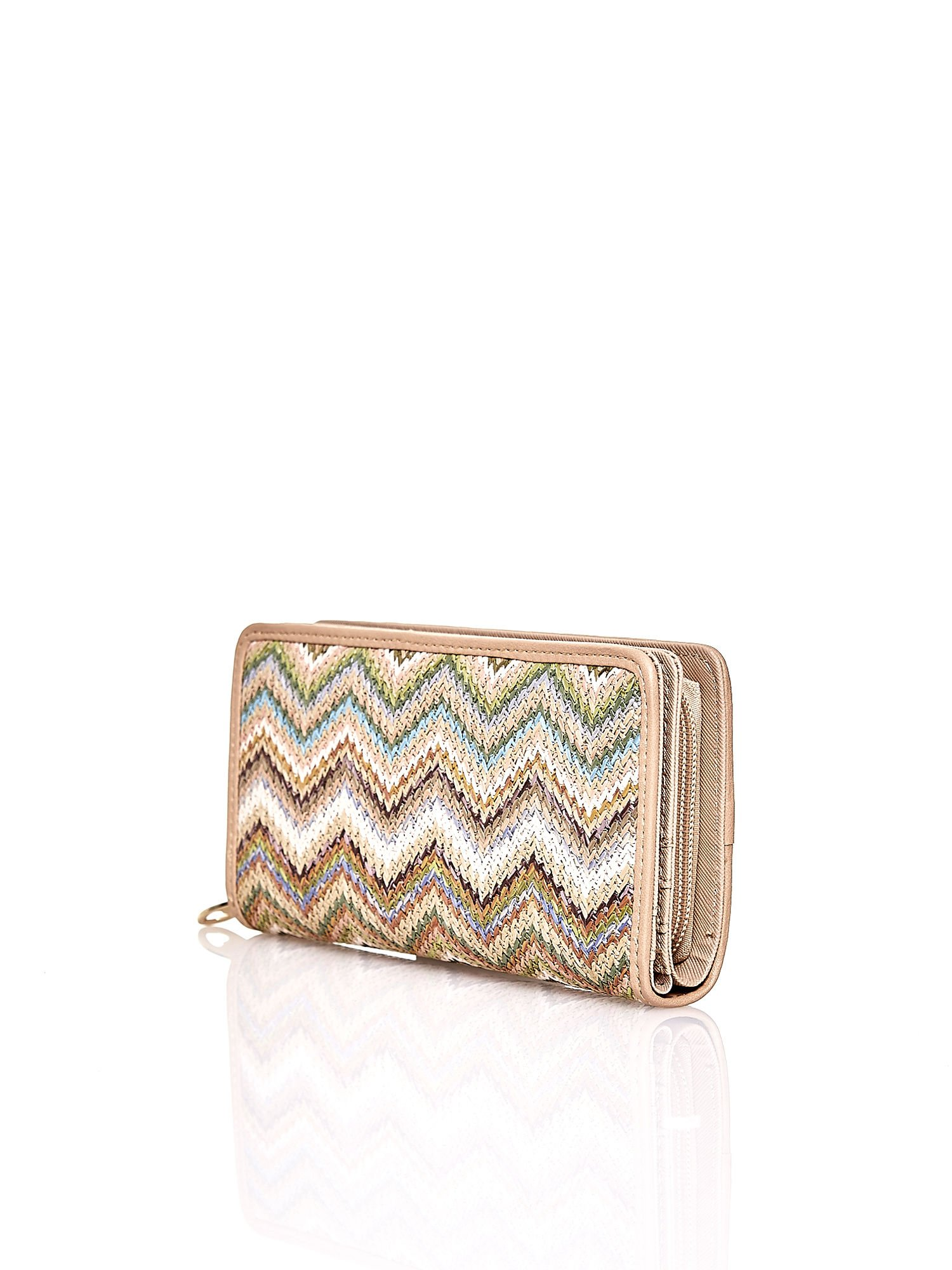 Beżowy pleciony portfel w jasne geometryczne wzory                                  zdj.                                  2
