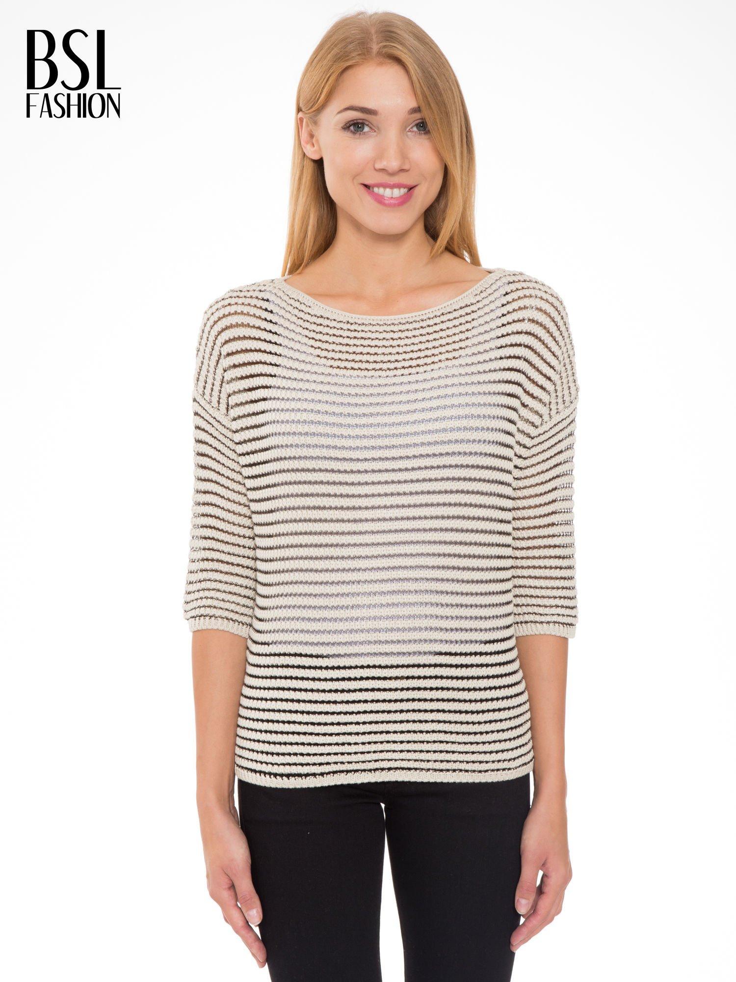 Beżowy półtransparentny sweter w prążki                                  zdj.                                  1