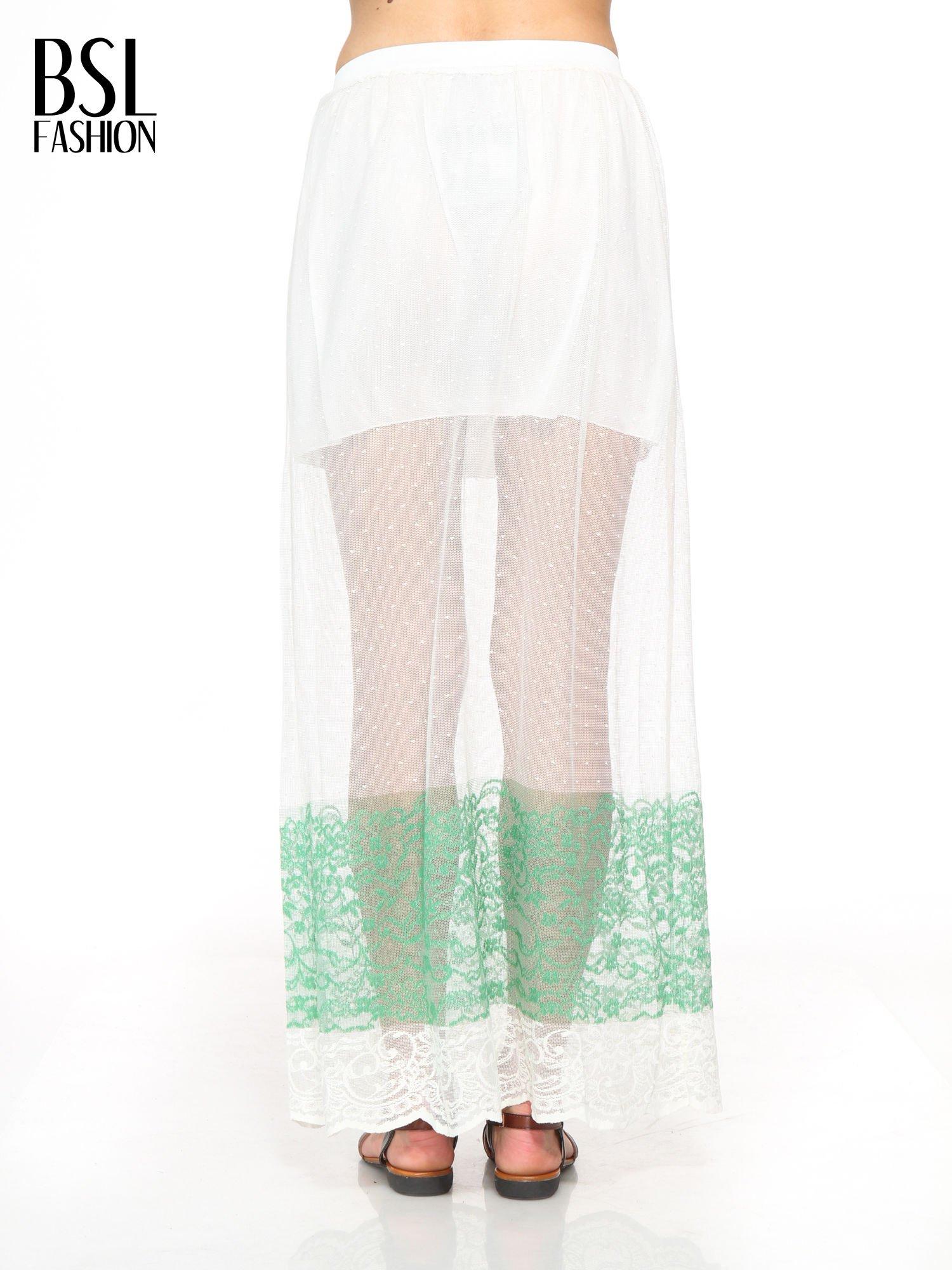 Biała ażurowa spódnica z zielonym pasem                                  zdj.                                  4
