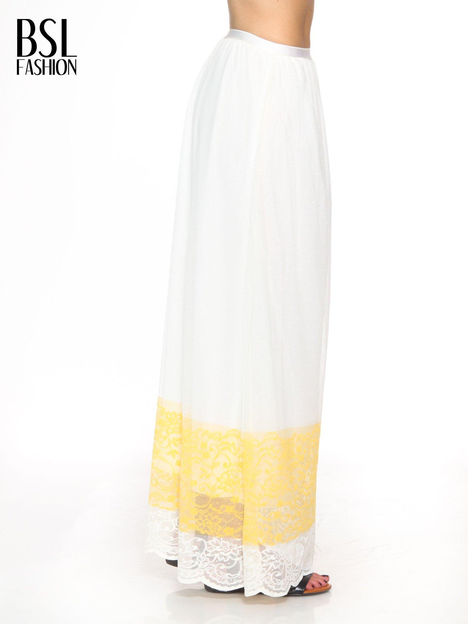 Biała ażurowa spódnica z żółtym pasem                                  zdj.                                  3