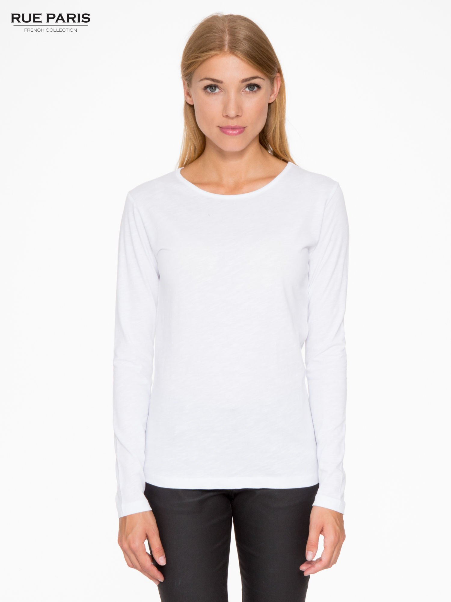 aa1df3571f6bad Biała basicowa bluzka z długim rękawem - Bluzka longsleeves - sklep ...