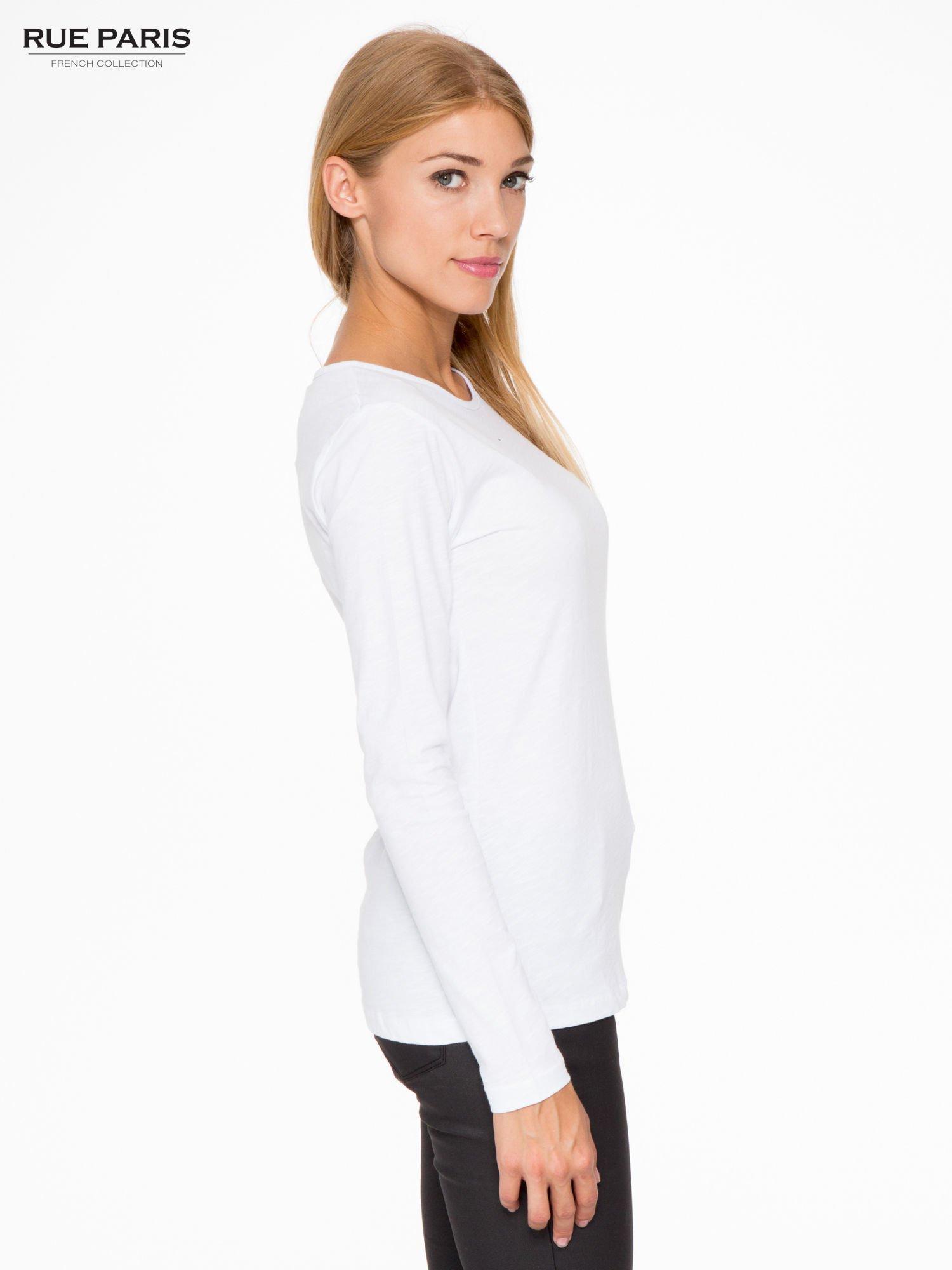 Biała basicowa bluzka z długim rękawem                                  zdj.                                  3