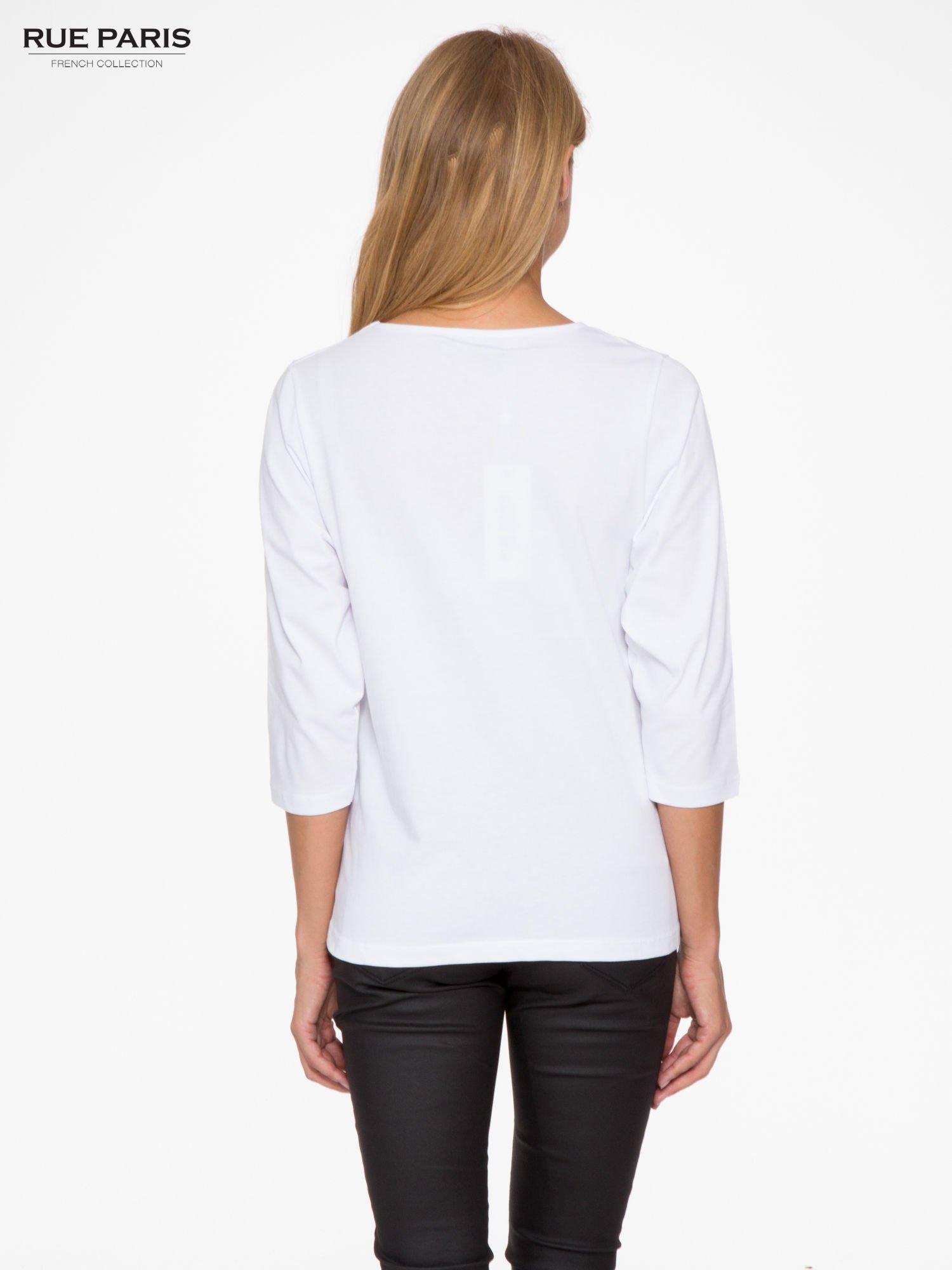 Biała basicowa bluzka z rękawem 3/4                                  zdj.                                  4