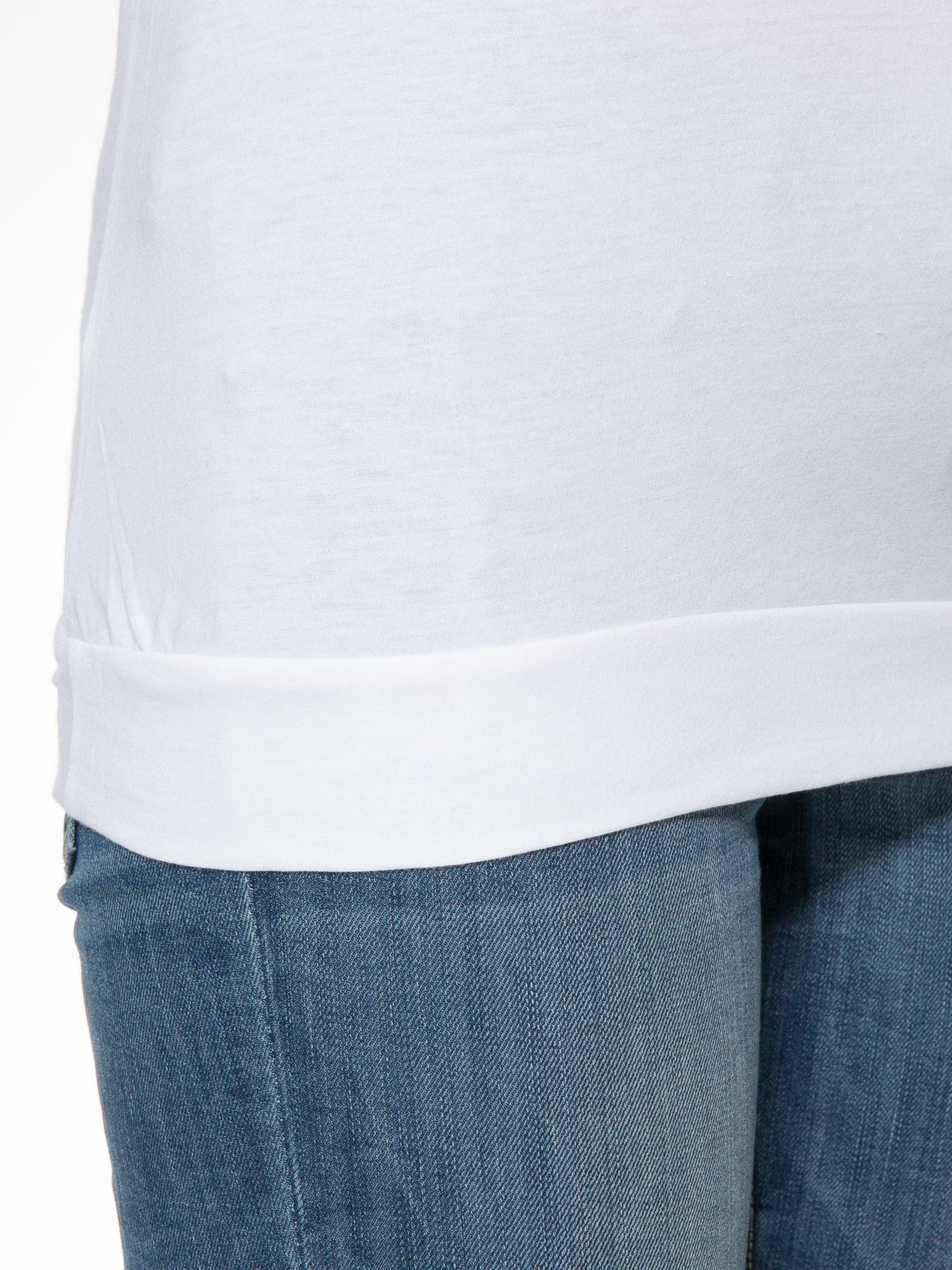 Biała bawełniana bluzka z rękawami typu reglan                                  zdj.                                  6